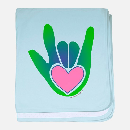 Green/Pink Heart ILY Hand Infant Blanket