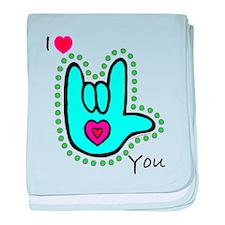 Aqua Bold I-Love-You Infant Blanket
