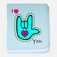 Aqua Bold I-Love-You Infant Blanket