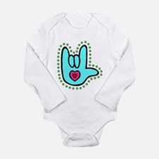 Aqua Bold Love Hand Long Sleeve Infant Bodysuit