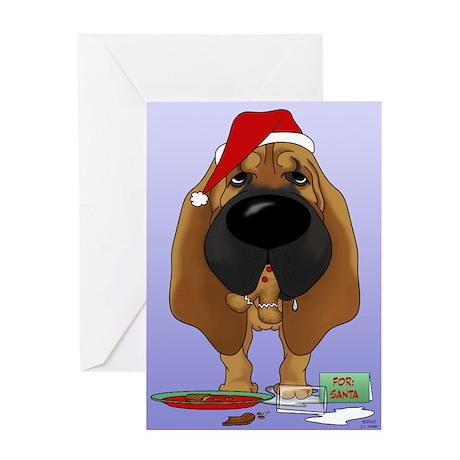 Bloodhound Santa's Cookies Greeting Card