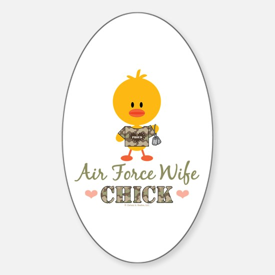 Proud Air Force Wife Chick Sticker (Oval)