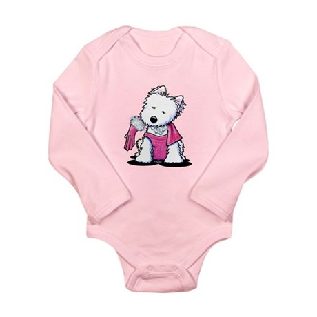 Westie Material Girl Long Sleeve Infant Bodysuit