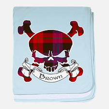 Brown Tartan Skull baby blanket