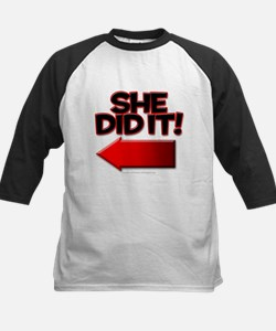 She did it Kids Baseball Jersey