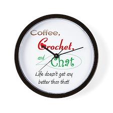 Coffee, Crochet & Chat Wall Clock