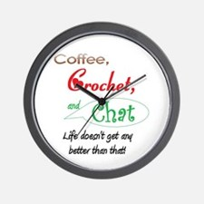Coffee, Crochet & Chat Wall Clock