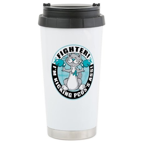 PCOS Cat Fighter Stainless Steel Travel Mug