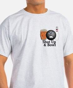 Shut Up And Bowl Logo 10 T-Shirt Design Fron