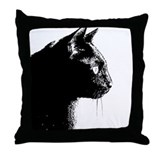 Black cat portrait pillow Throw Pillows