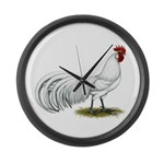 Phoenix White Rooster Large Wall Clock
