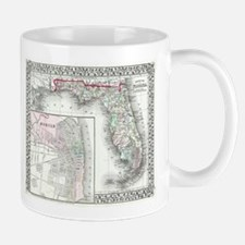 Vintage Map of Florida and Mobile AL (1874) Mugs