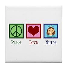 Peace Love Nurse Tile Coaster