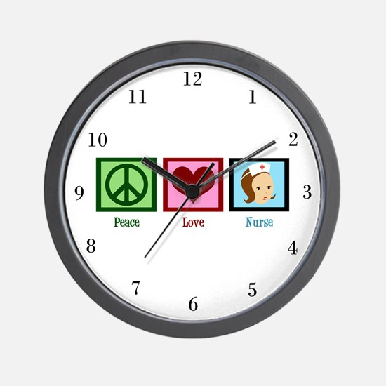 Peace Love Nurse Wall Clock