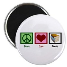 Peace Love Books Magnet