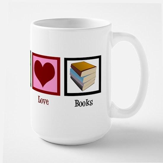 Peace Love Books Large Mug