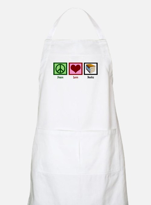 Peace Love Books Apron