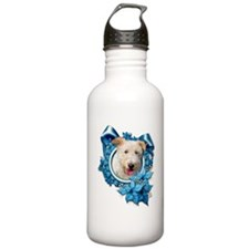 Christmas - Blue Snowflakes Sports Water Bottle