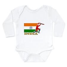 India Cricket Player Long Sleeve Infant Bodysuit