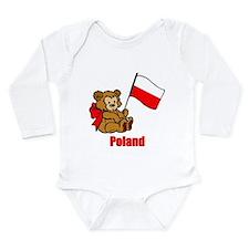 Poland Teddy Bear Long Sleeve Infant Bodysuit