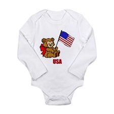 USA Teddy Bear Long Sleeve Infant Bodysuit