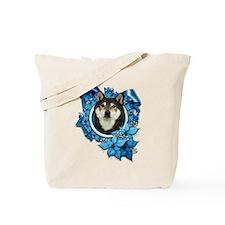 Christmas - Blue Snowflakes Tote Bag