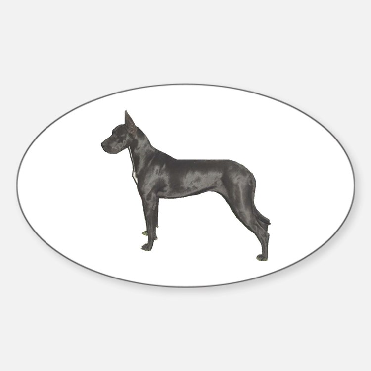 Black Great Dane Oval Decal