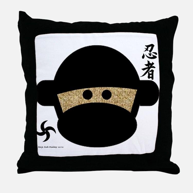 Sock Monkey Ninja Throw Pillow
