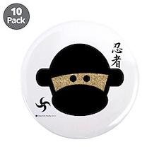 "Sock Monkey Ninja 3.5"" Button (10 pack)"