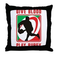 Rugby player pass Throw Pillow