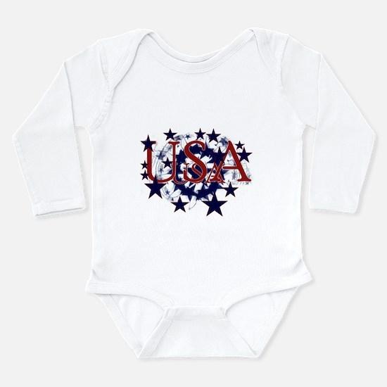 USA Stars Long Sleeve Infant Bodysuit