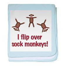 Flip Over Sock Monkeys Infant Blanket