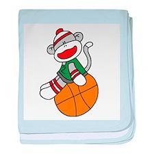 Sock Monkey Basketball Infant Blanket