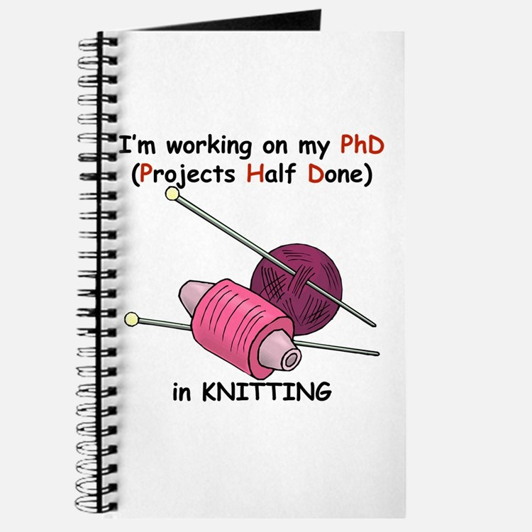 Knitting Project Journal : Funny knitting office supplies decor stationery