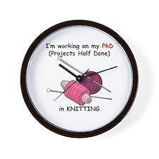 Knitting PhD (projects half d Wall Clock