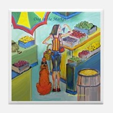 """Dog in the Market"" Tile Coaster"