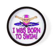 Born to Swim Madison Wall Clock