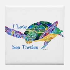 Beautiful Graceful Sea Turtle Tile Coaster