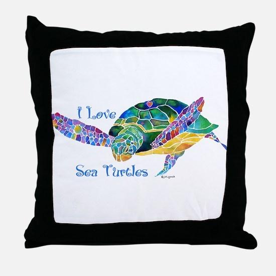 Beautiful Graceful Sea Turtle Throw Pillow