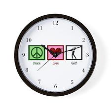 Peace Love Golf Wall Clock