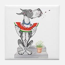 Great Dane Spit! Melon MANTLE Tile Coaster
