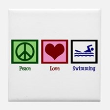 Peace Love Swimming Tile Coaster