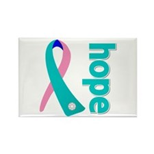 Hope Thyroid Cancer Ribbon Rectangle Magnet (100 p