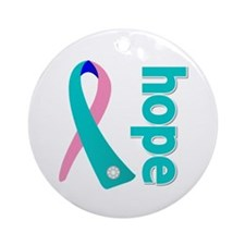 Hope Thyroid Cancer Ribbon Ornament (Round)