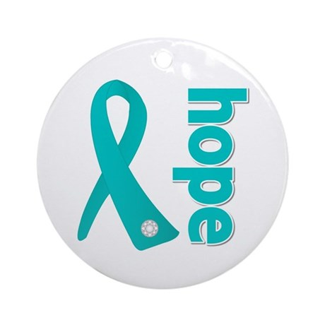 Hope Ribbon Ovarian Cancer Ornament (Round)