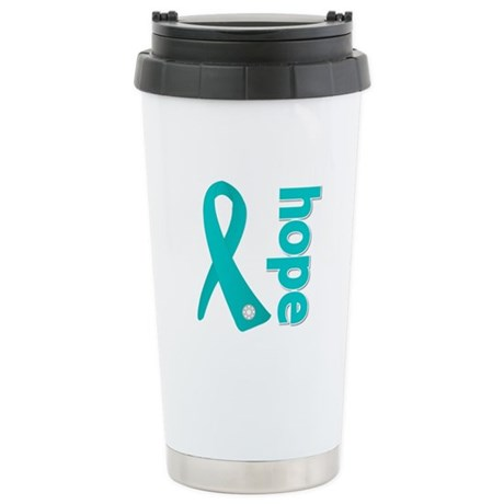 Hope Ribbon Ovarian Cancer Stainless Steel Travel