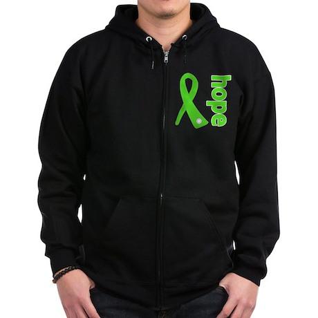 Hope Lime Green Ribbon Zip Hoodie (dark)
