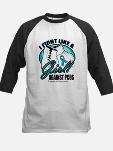 PCOS I Fight Like A Girl Kids Baseball Jersey