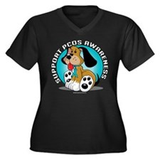 PCOS Dog Women's Plus Size V-Neck Dark T-Shirt