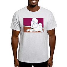 White Poodle Coffee Dog Ash Grey T-Shirt